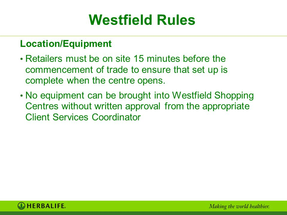 Westfield Rules Location/Equipment