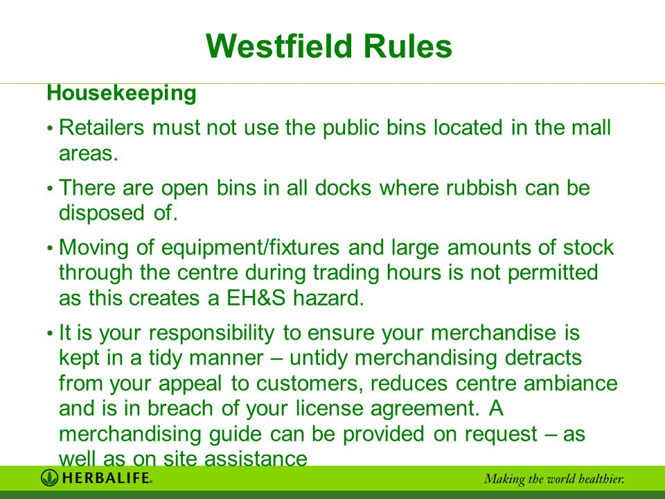 Westfield Rules Housekeeping