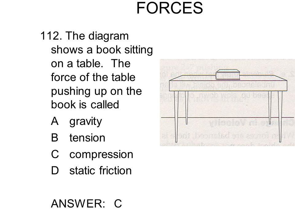FORCES 112. The diagram shows a book sitting on a table. The force of the table pushing up on the book is called.