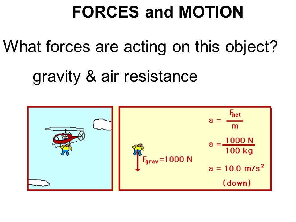 FORCES and MOTION What forces are acting on this object gravity & air resistance