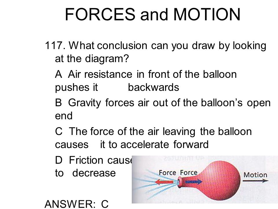 FORCES and MOTION 117. What conclusion can you draw by looking at the diagram A Air resistance in front of the balloon pushes it backwards.
