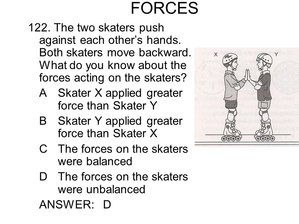 FORCES 122. The two skaters push against each other's hands. Both skaters move backward. What do you know about the forces acting on the skaters