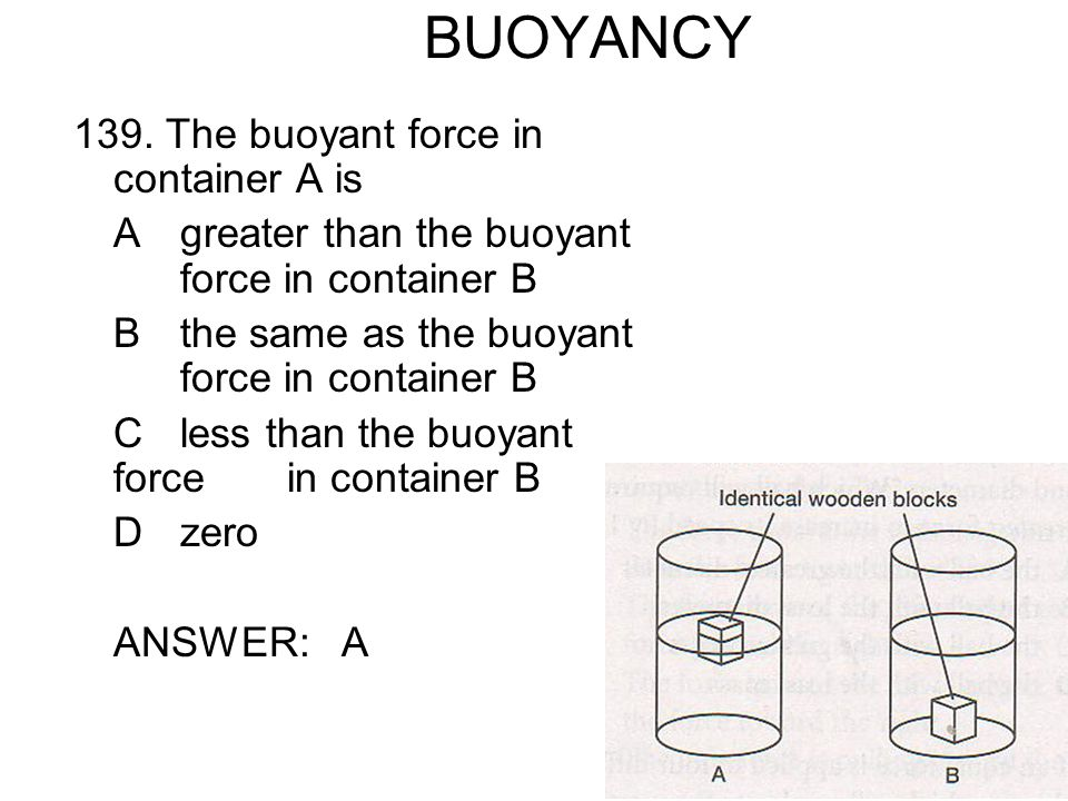 BUOYANCY 139. The buoyant force in container A is
