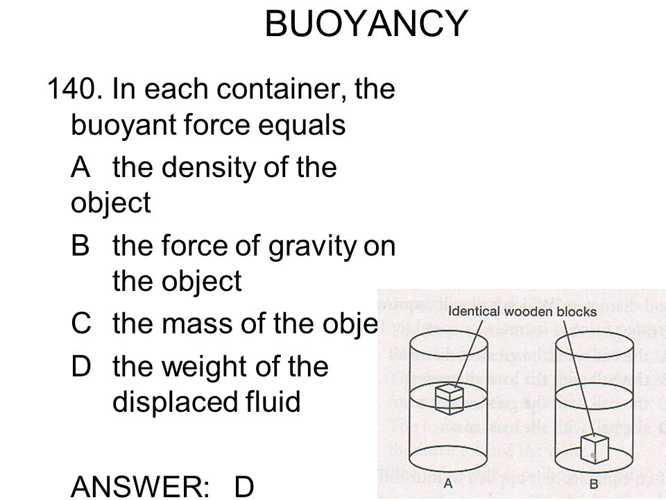 BUOYANCY 140. In each container, the buoyant force equals
