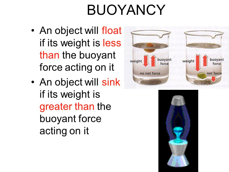BUOYANCY An object will float if its weight is less than the buoyant force acting on it.