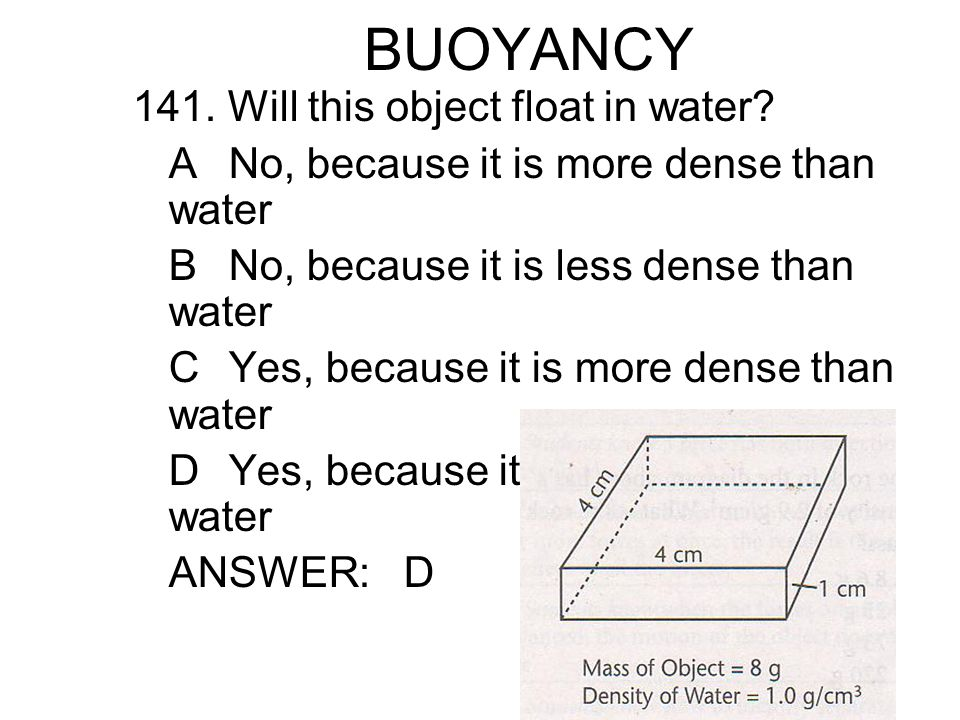 BUOYANCY 141. Will this object float in water