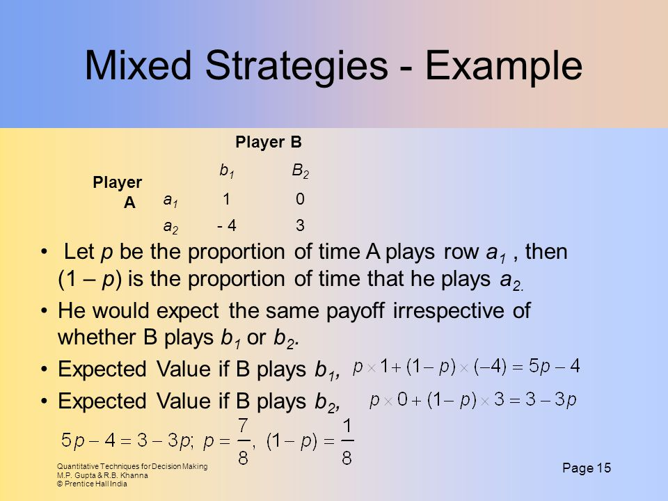 Mixed Strategies - Example