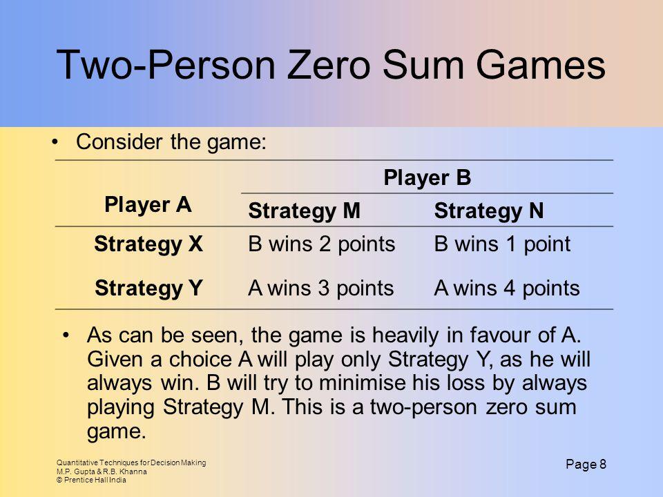 Two-Person Zero Sum Games