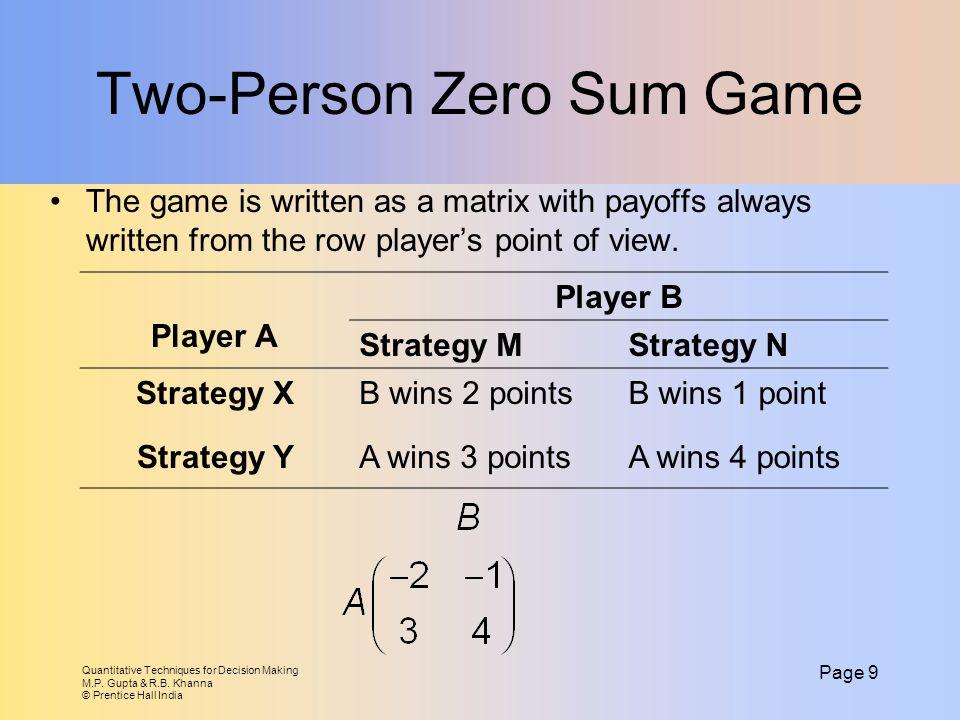 Two-Person Zero Sum Game