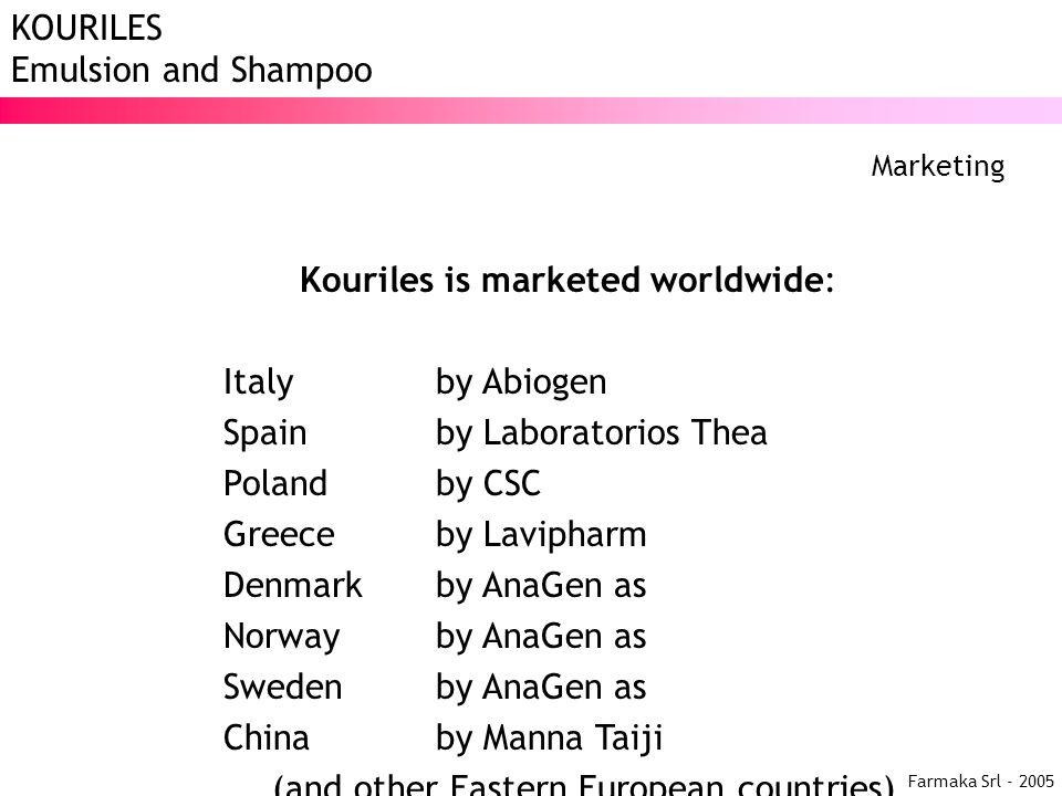 Kouriles is marketed worldwide: Italy by Abiogen