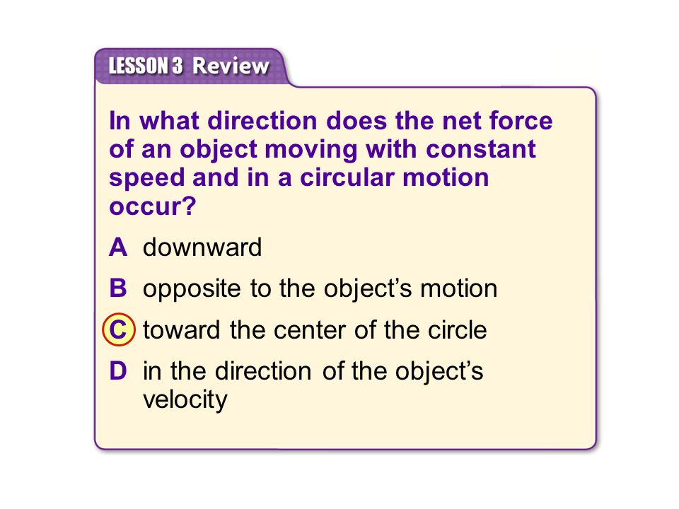 B opposite to the object's motion C toward the center of the circle