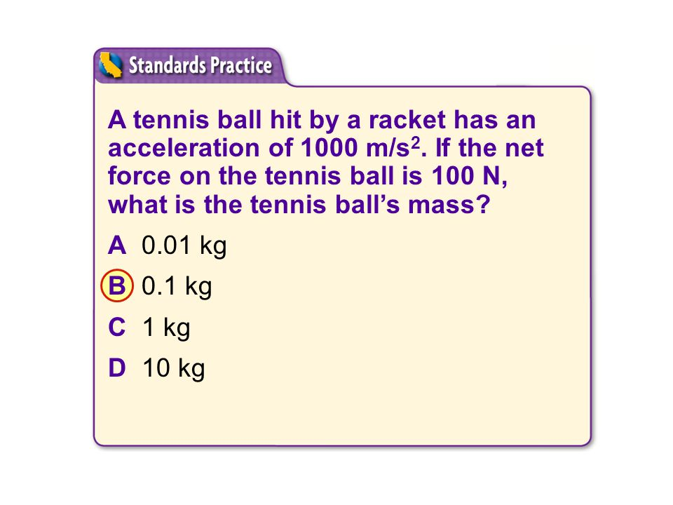 SCI 2.f A tennis ball hit by a racket has an acceleration of 1000 m/s2. If the net force on the tennis ball is 100 N, what is the tennis ball's mass