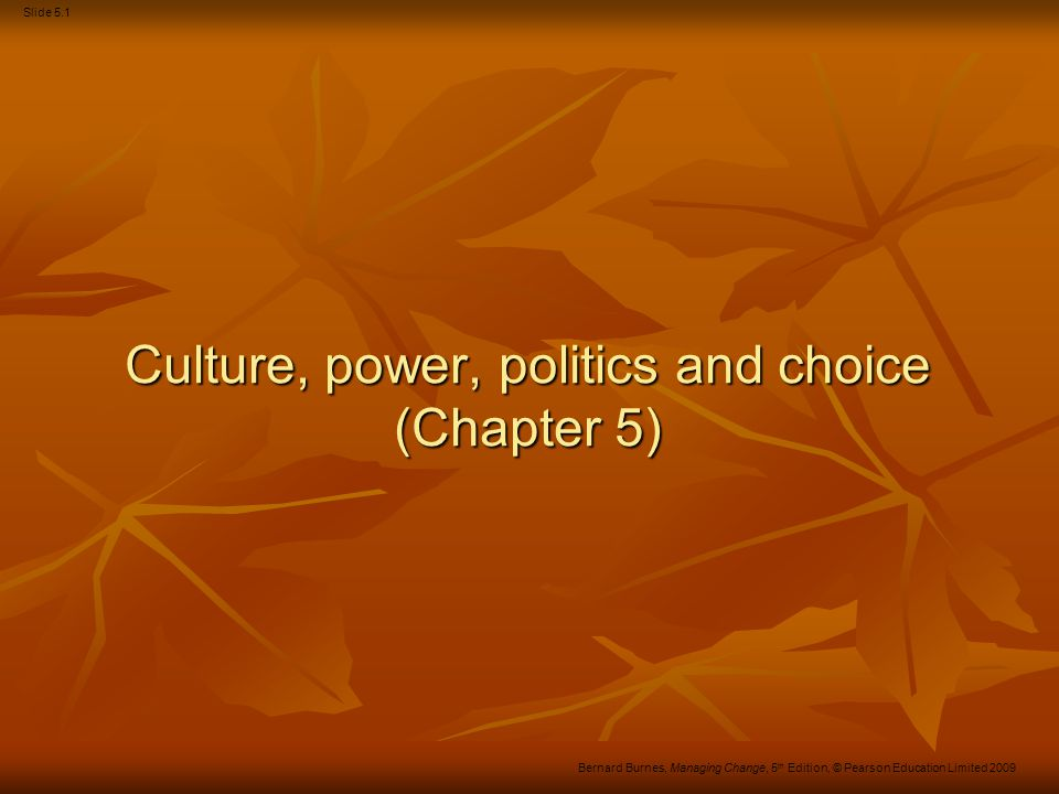 Culture, power, politics and choice (Chapter 5)