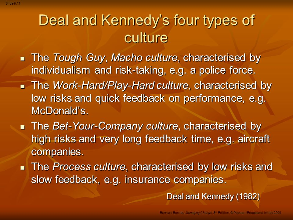 Deal and Kennedy's four types of culture