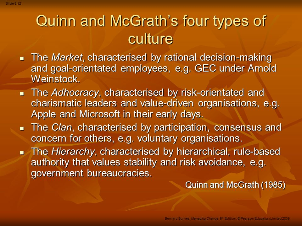 Quinn and McGrath's four types of culture