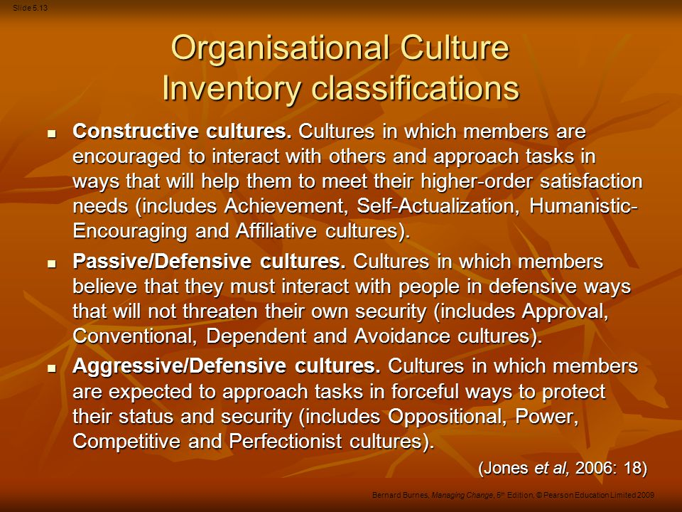 Organisational Culture Inventory classifications