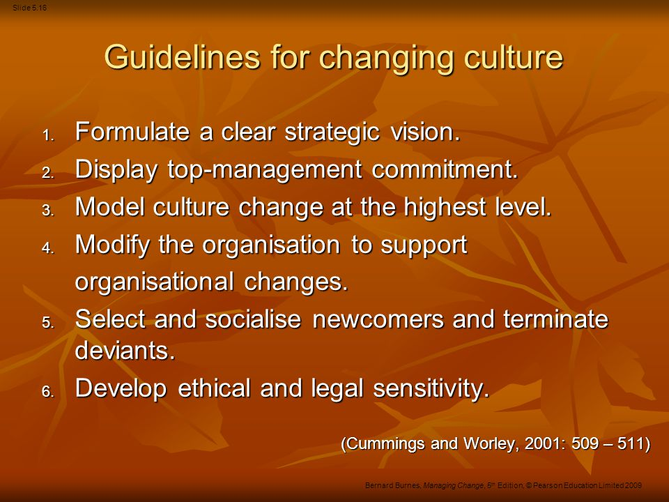 Guidelines for changing culture