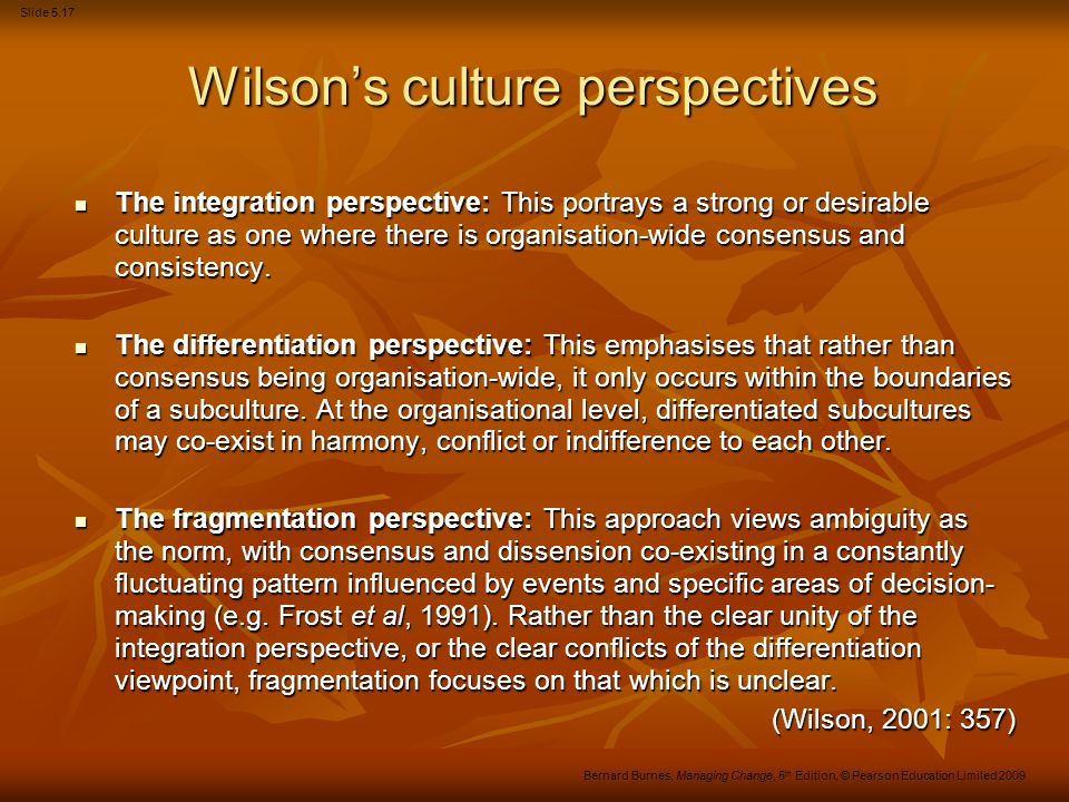 Wilson's culture perspectives