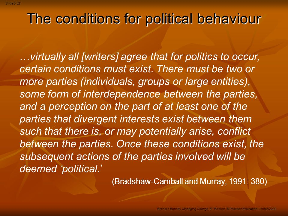 The conditions for political behaviour