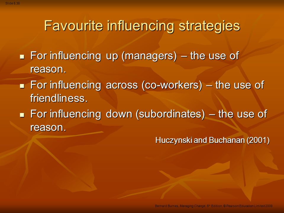 Favourite influencing strategies