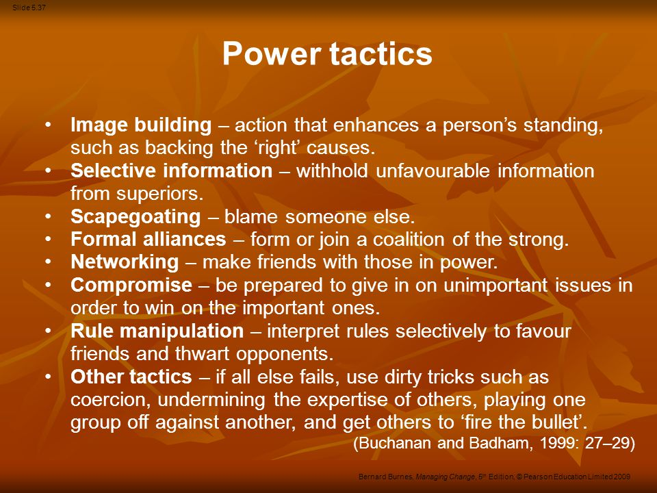 Power tactics Image building – action that enhances a person's standing, such as backing the 'right' causes.