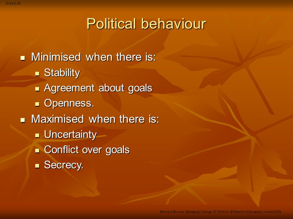 Political behaviour Minimised when there is: Maximised when there is: