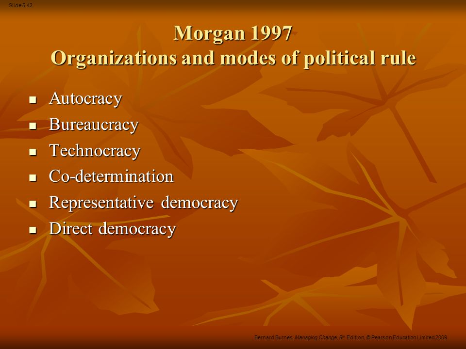 Morgan 1997 Organizations and modes of political rule