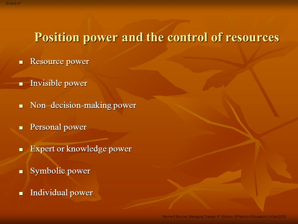 Position power and the control of resources