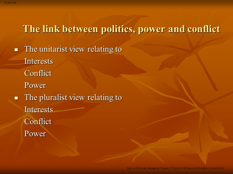 The link between politics, power and conflict