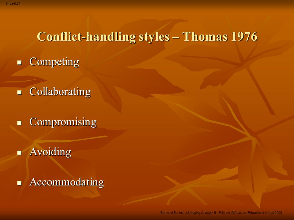 Conflict-handling styles – Thomas 1976