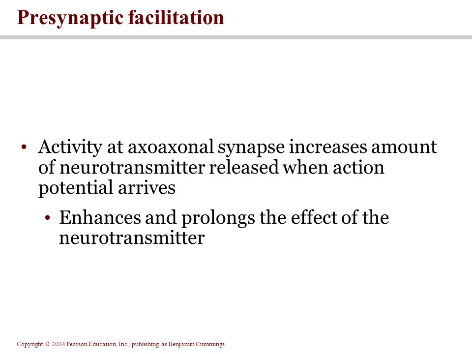Presynaptic facilitation
