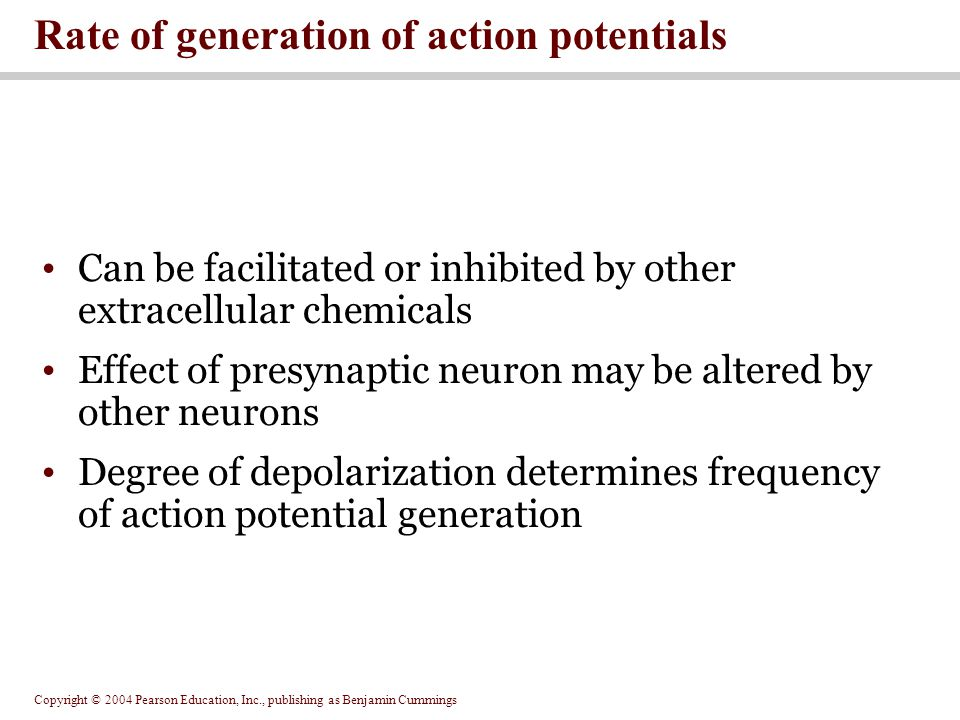 Rate of generation of action potentials