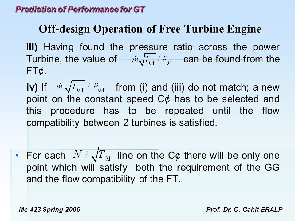 Off-design Operation of Free Turbine Engine