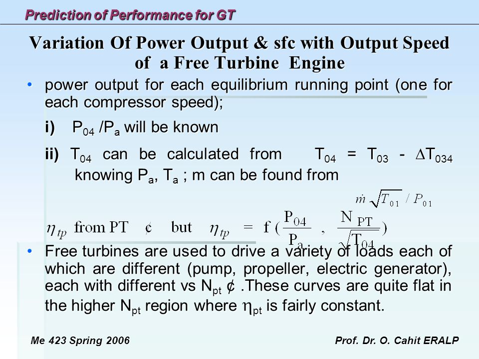 Variation Of Power Output & sfc with Output Speed of a Free Turbine Engine