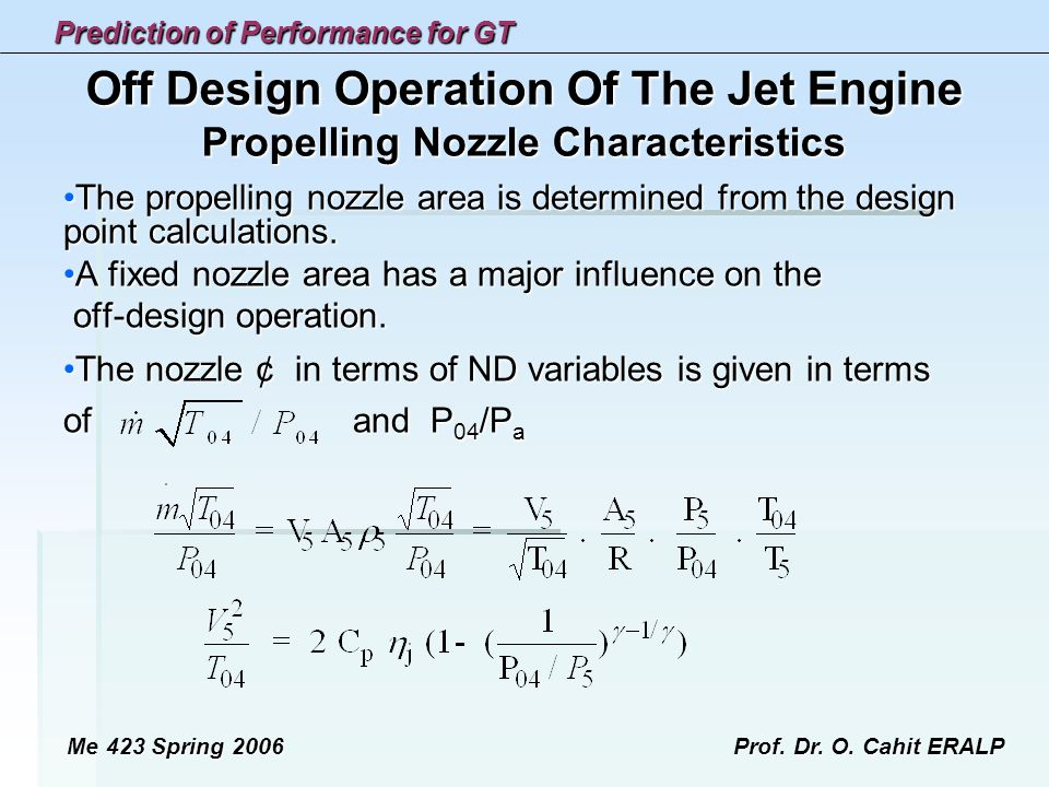 Off Design Operation Of The Jet Engine Propelling Nozzle Characteristics