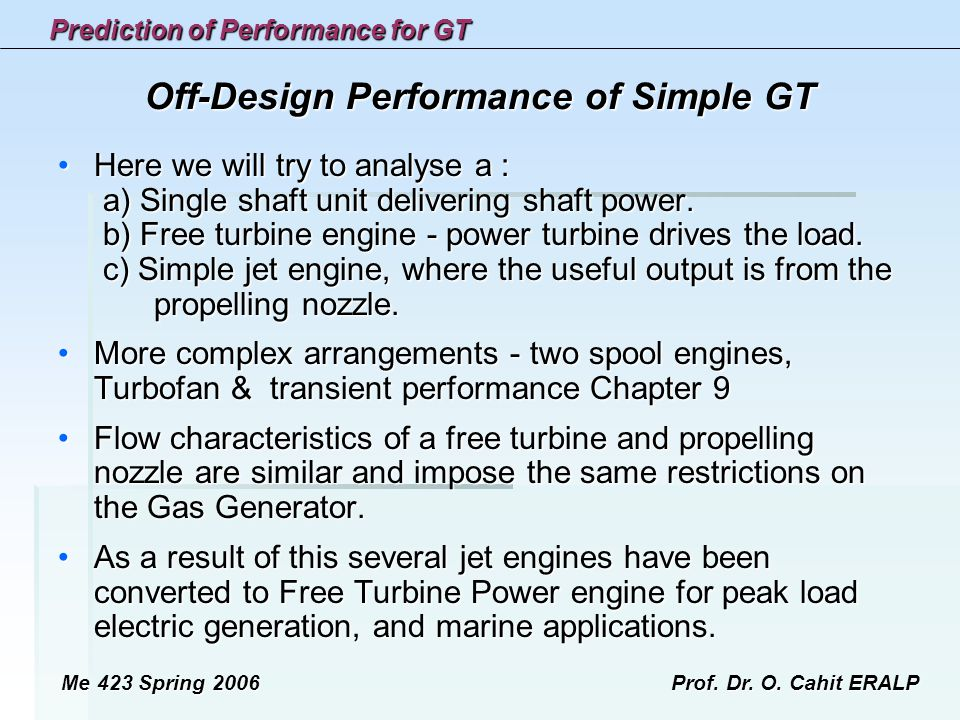 Off-Design Performance of Simple GT