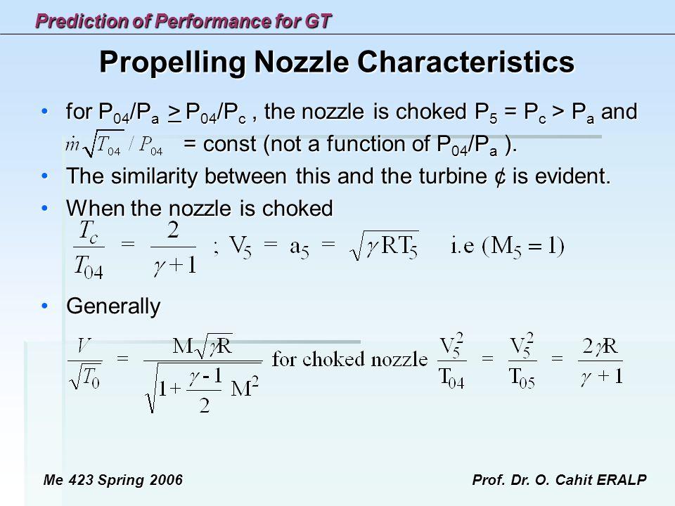 Propelling Nozzle Characteristics