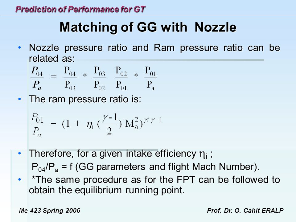 Matching of GG with Nozzle