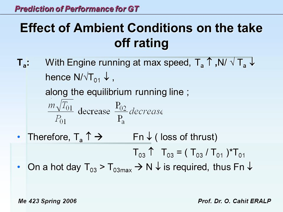 Effect of Ambient Conditions on the take off rating