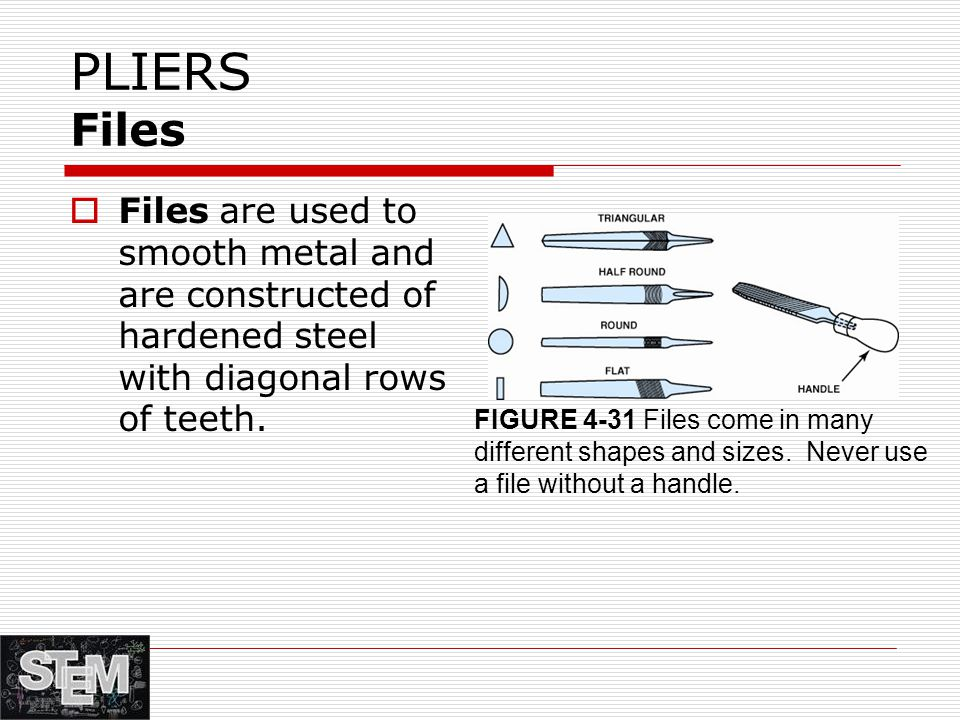 PLIERS Files Files are used to smooth metal and are constructed of hardened steel with diagonal rows of teeth.
