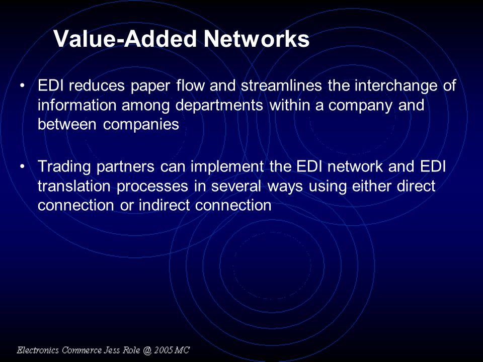 Value-Added Networks EDI reduces paper flow and streamlines the interchange of information among departments within a company and between companies.
