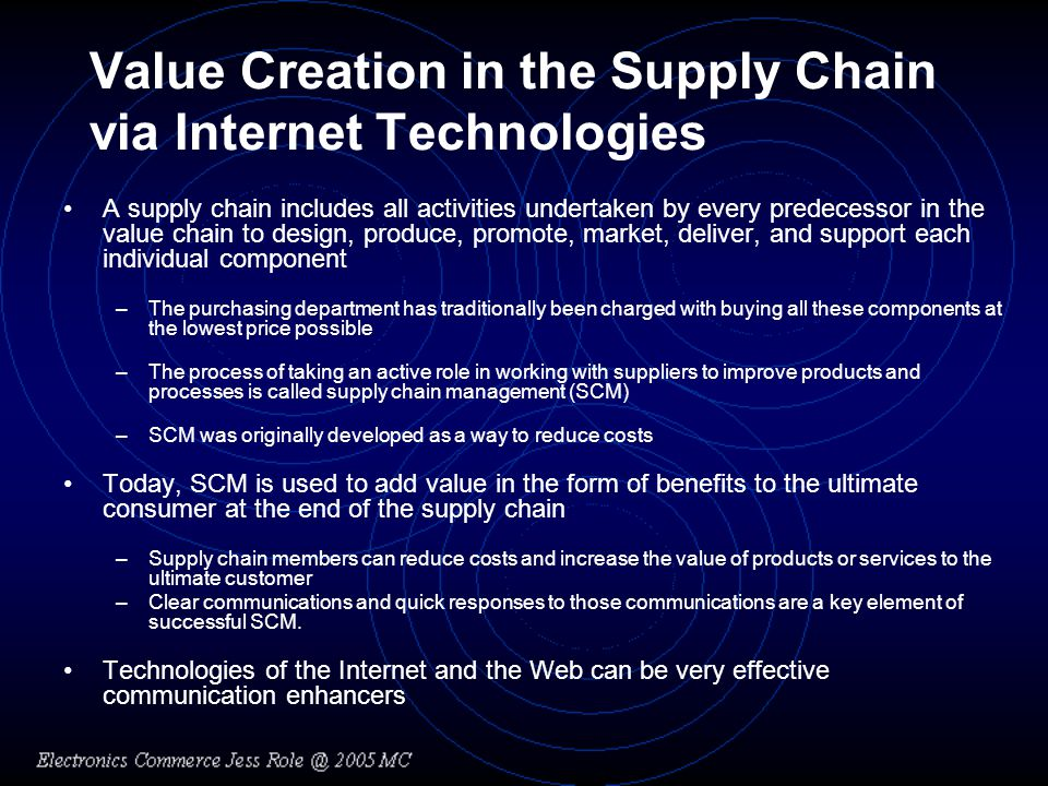 Value Creation in the Supply Chain via Internet Technologies