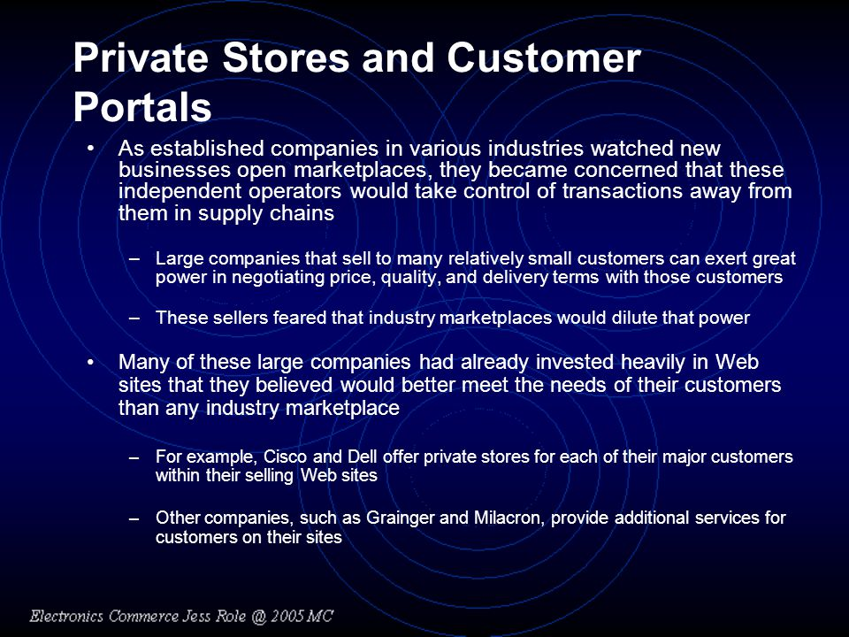 Private Stores and Customer Portals