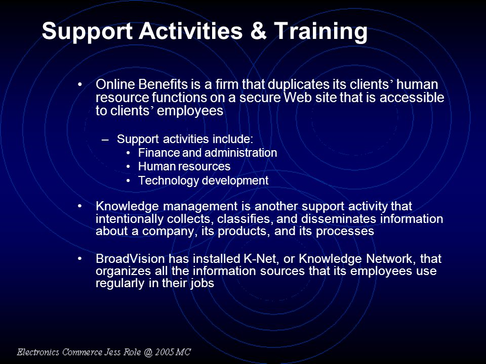 Support Activities & Training