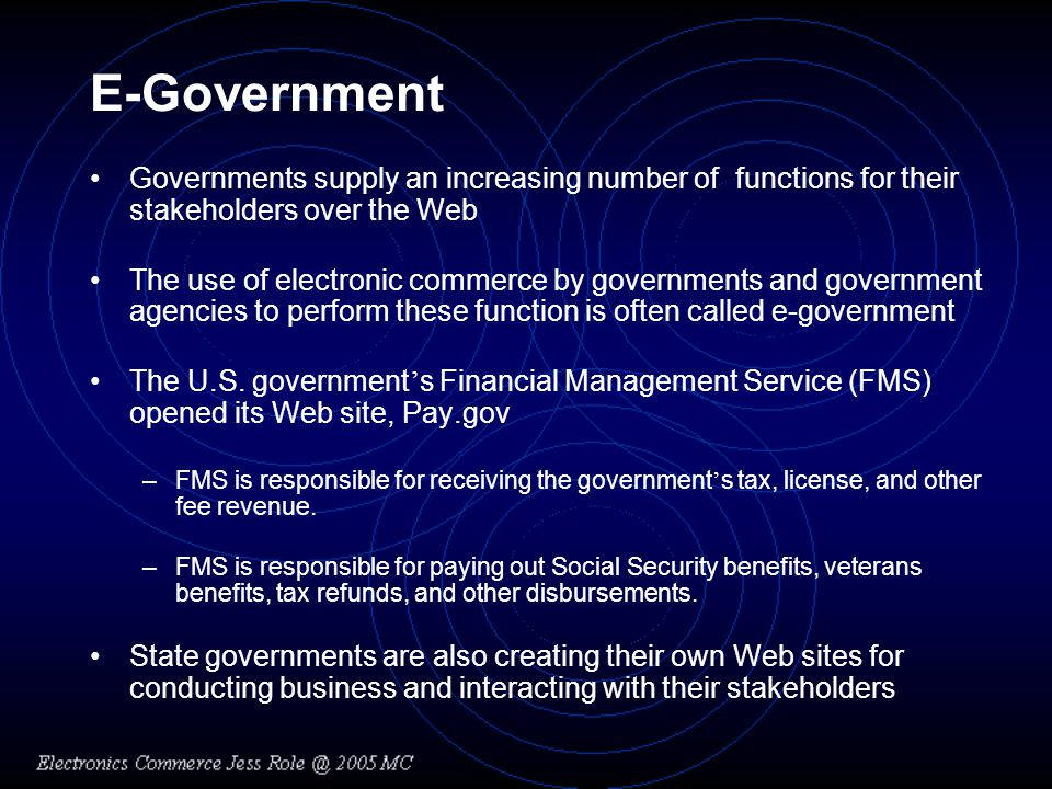 E-Government Governments supply an increasing number of functions for their stakeholders over the Web.
