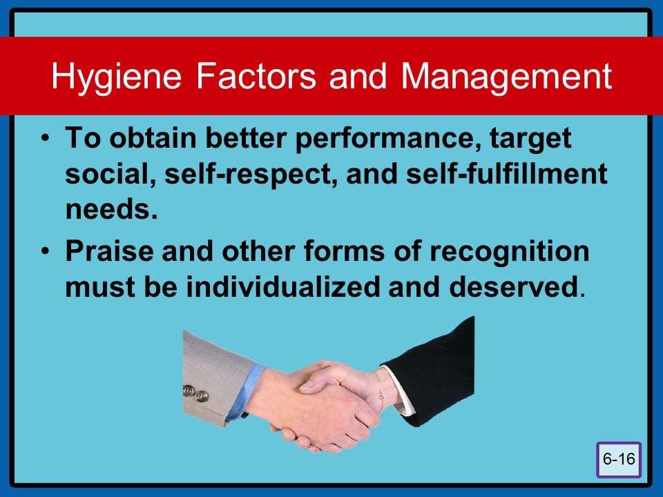 Hygiene Factors and Management
