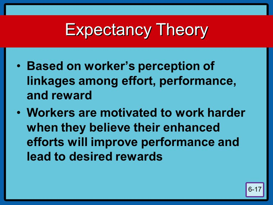 Expectancy Theory Based on worker's perception of linkages among effort, performance, and reward.