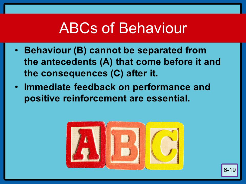 ABCs of Behaviour Behaviour (B) cannot be separated from the antecedents (A) that come before it and the consequences (C) after it.