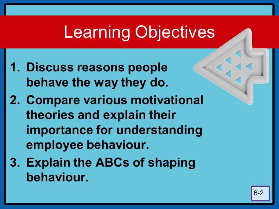 Learning Objectives Discuss reasons people behave the way they do.