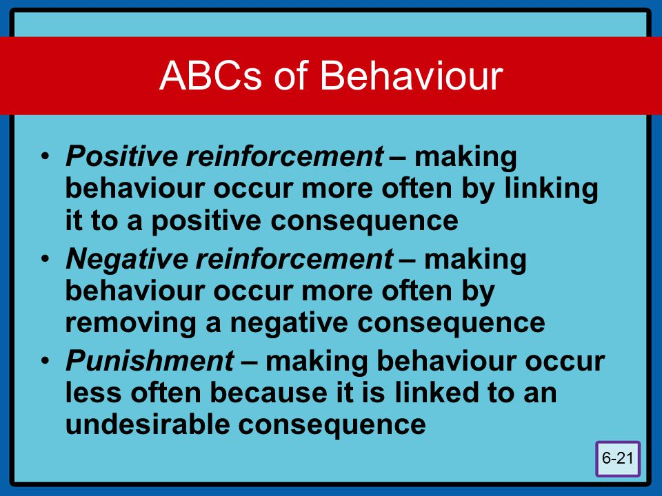 ABCs of Behaviour Positive reinforcement – making behaviour occur more often by linking it to a positive consequence.